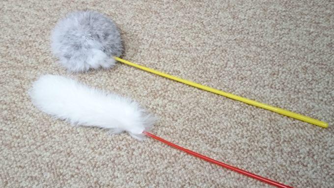 じゃれ猫遊びという猫じゃらしを横並びに置いた所を撮影。