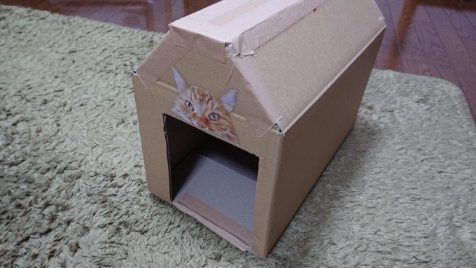 入り口に猫のシールを貼って、猫BOXを飾っている所。