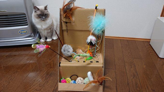 猫じゃらし収納ボックスの全体像。段ボール製。